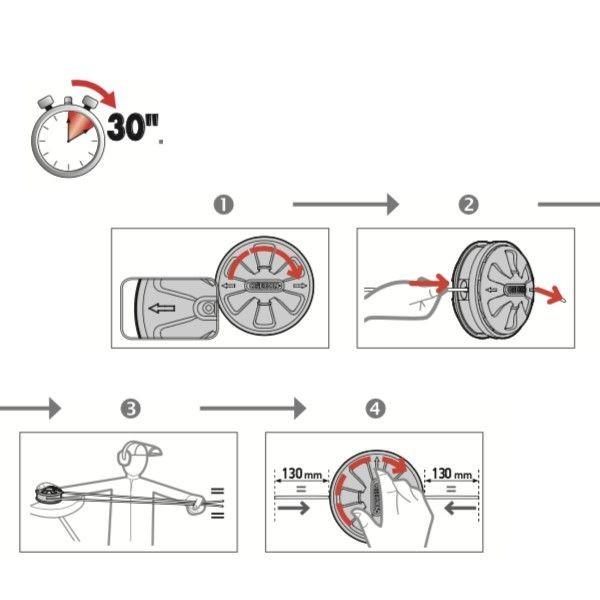 Tête universelle débroussailleuse 2 fils tap&go 130mm OREGON