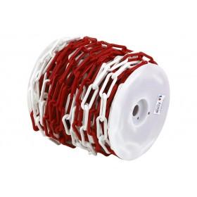Chaîne balisage PEHD rouge et blanc diam 8, 25 ml NOVAP