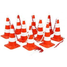Kit 10 cones de balisage Express 50 rouge/blanc NOVAP