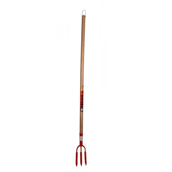 Fourche à rosiers forgée à soie 3 dents manche bois 110 cm LAVIEU