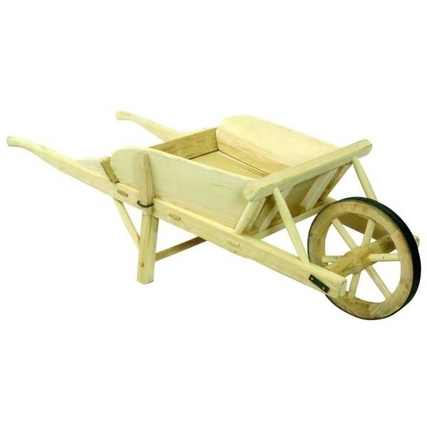 brouette en bois avec roue cercl e de fer pour d coration. Black Bedroom Furniture Sets. Home Design Ideas