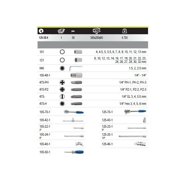 Coffret douilles 1/4 1/2 58 pieces IRIMO